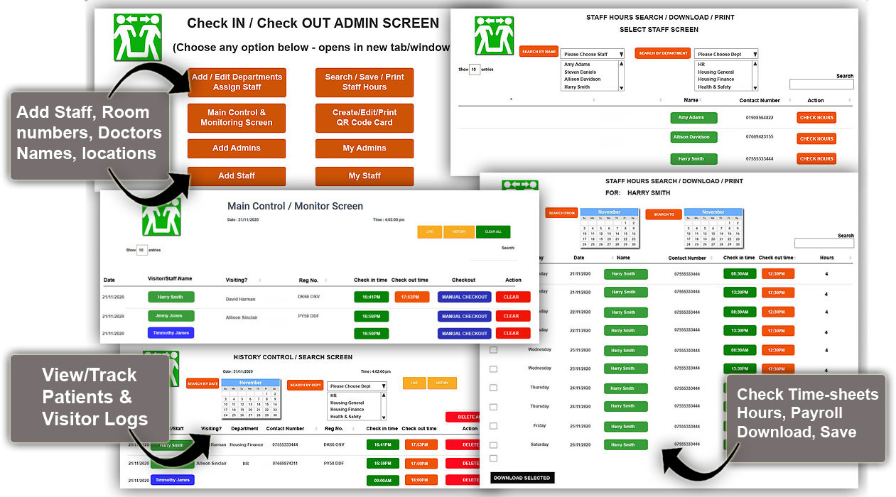 virtual check in and check out software control screens
