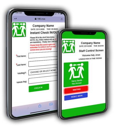 Digital business card virtual check in check out system